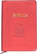 Biblia legata in piele, cu fermoar [format mijlociu] [rosu]