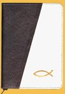 Biblia legata in piele, cu fermoar [format mic, maro inchis & crem--cu peste]