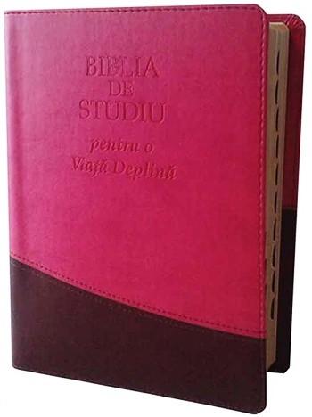 Biblia de studiu pentru o viata deplina [editie deLuxe, piele ecologica, roz & maro]