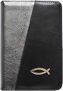 Biblia legata in piele, cu fermoar [format mic, gri sidefat & negru - cu peste]