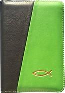 Biblia legata in piele, cu fermoar [format mic, verde & negru - cu peste]