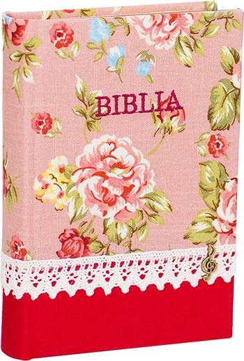 Biblia handmade – model floral rosu