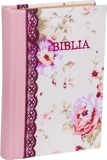 Biblia handmade – model floral roz
