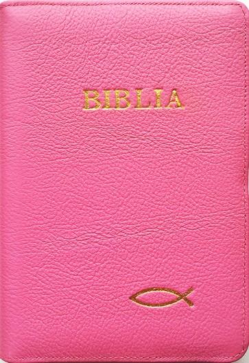 Biblia legata in piele, cu fermoar [format mijlociu] [roz, peste]