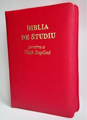 Biblia de studiu pentru o  viață deplină [ediție de lux, coperta piele, roșu, cu fermoar, aurie, index de căutare]