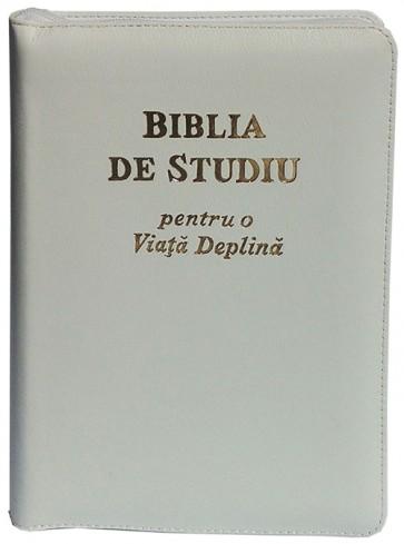 Biblia de studiu pentru o  viață deplină [ediție de lux, coperta piele, alb, cu fermoar, aurie, index de căutare]