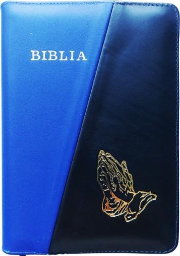 Biblia legata in piele, cu fermoar [format mijlociu] [albastru/negru, mâini în rugăciune]