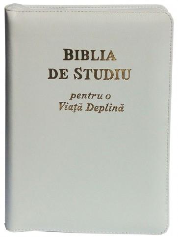 Biblia de studiu pentru o viață deplină [copertă piele albă, fermoar, index]