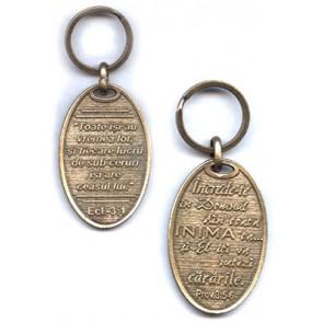Breloc metal cu Eclesiastul 3:1 si Proverbe 3:5-6 [alama]