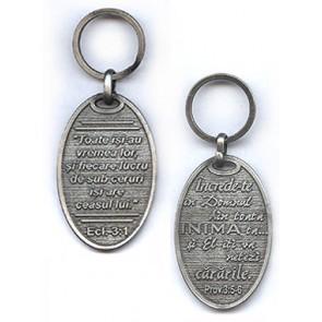 Breloc metal cu Eclesiastul 3:1 si Proverbe 3:5-6 [zamac]