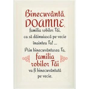 "Placheta ""Binecuvanta, Doamne, familia robilor Tai... """