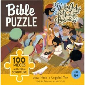 Jesus Heals a Crippled Man. Puzzle biblic 100 piese