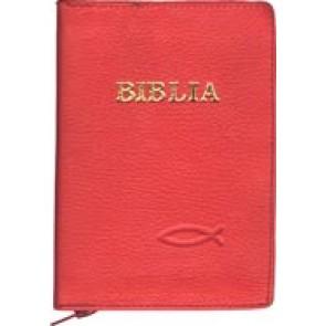 Biblia legata in piele, cu fermoar [format mic] [rosu]