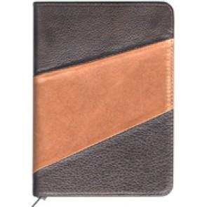 Biblia legata in piele, cu fermoar [format mijlociu, maro inchis & maro deschis]
