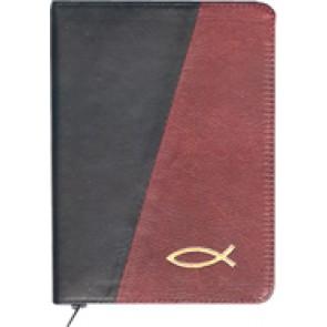 Biblia legata in piele, cu fermoar [format mic, negru & bordo--cu peste]