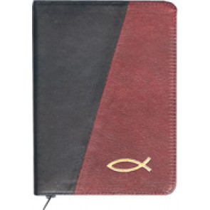 Biblia legata in piele, cu fermoar [format mijlociu, negru & bordo--cu peste]