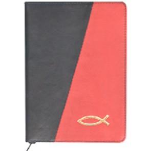 Biblia legata in piele, cu fermoar [format mijlociu, negru & rosu--cu peste]