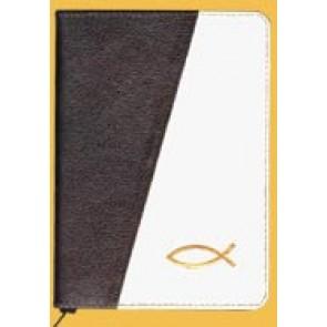 Biblia legata in piele, cu fermoar [format mijlociu, maro inchis & crem--cu peste]