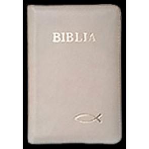 Biblia legata in piele, cu fermoar [format mic, bej -- cu peste]