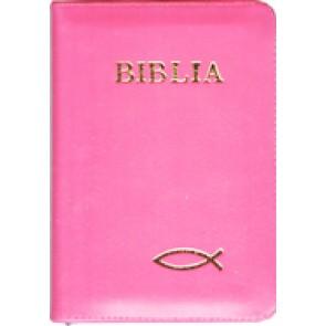 Biblia legata in piele, cu fermoar [format mic, roz]