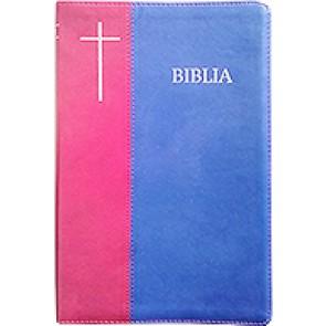 Biblia [coperta PVC moale, bleumarin/visiniu, margini argintate] SBIR