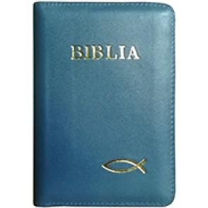 Biblia legata in piele, cu fermoar [format mic, bleumarin - cu peste]