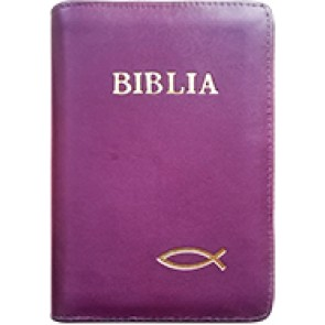 Biblia legata in piele, cu fermoar [format mic, mov - cu peste]