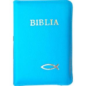 Biblia legata in piele, cu fermoar [format mic, albastru deschis]