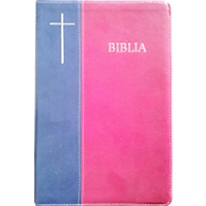 Biblia [coperta PVC moale, visiniu/bleumarin, margini argintate, index, fermoar] SBIR