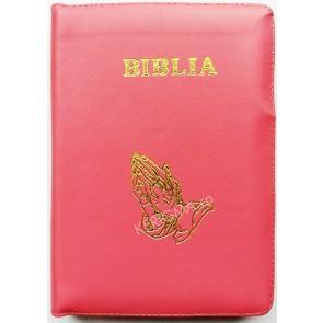 Biblia legata in piele, cu fermoar [format mijlociu] [roz, maini in rugaciune]