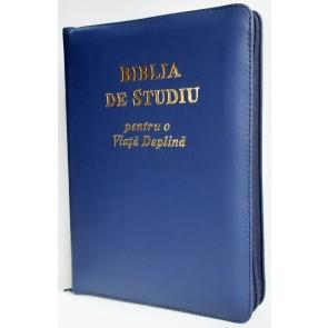 Biblia de studiu pentru o  viață deplină [ediție de lux, coperta piele, bleumarin, cu fermoar, aurie, index de căutare]