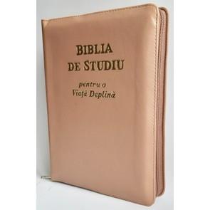 Biblia de studiu pentru o  viață deplină [ediție de lux, coperta piele, capucino, cu fermoar, aurie, index de căutare]
