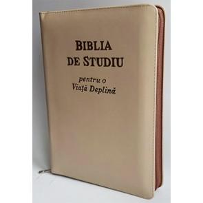Biblia de studiu pentru o  viață deplină [ediție de lux, coperta piele, crem, cu fermoar, aurie, index de căutare]