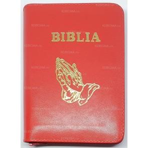 Biblia legata in piele, cu fermoar [format mic] [rosu, maini in rugaciune]