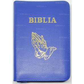 Biblia legata in piele, cu fermoar [format mic] [albastru, maini in rugaciune]